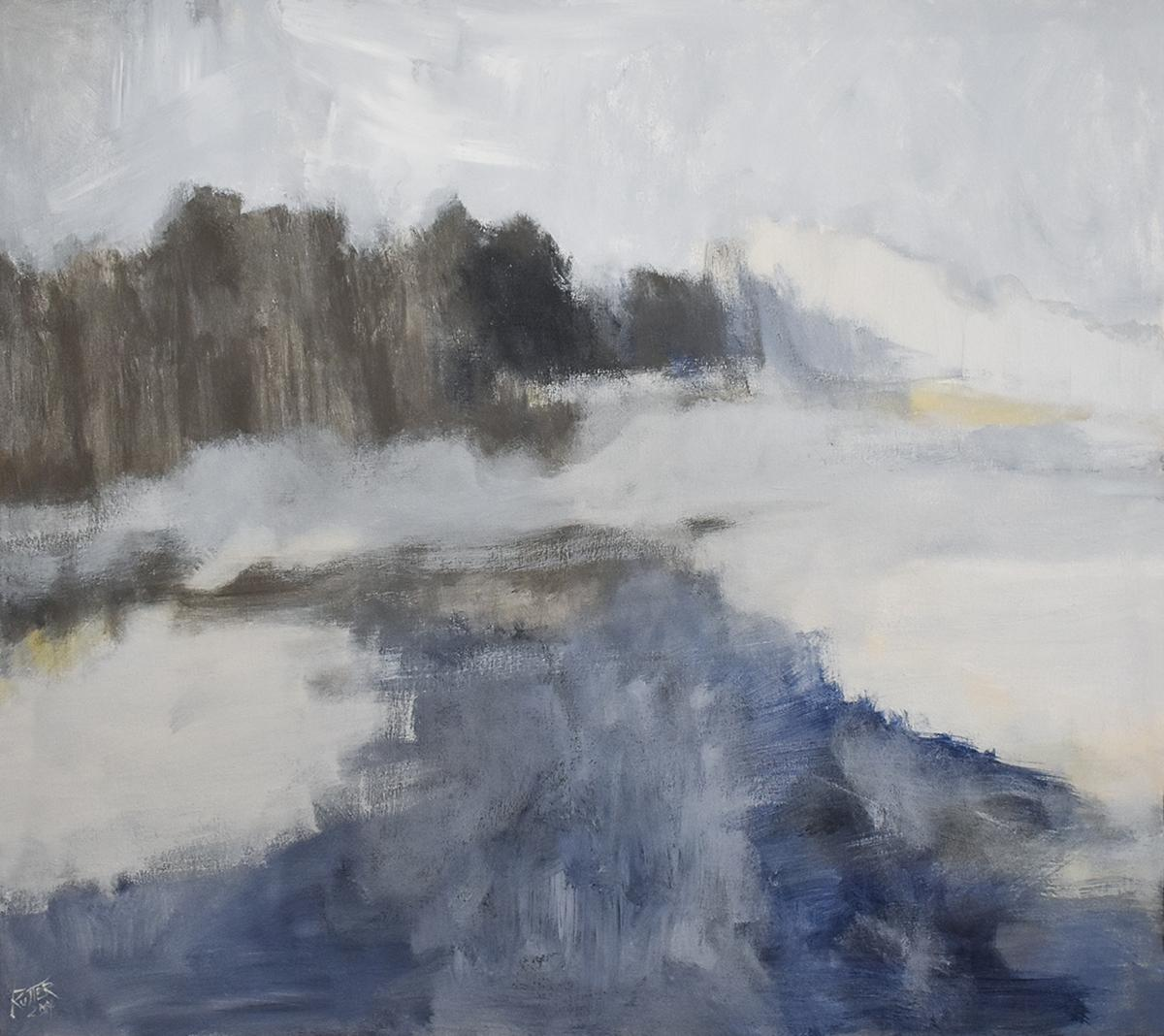 Long Lake View (Contemporary Abstracted Landscape Painting in Blue and Silver)