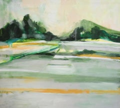 Morning Haying: Contemporary Abstracted Landscape Painting of Green Summer Field