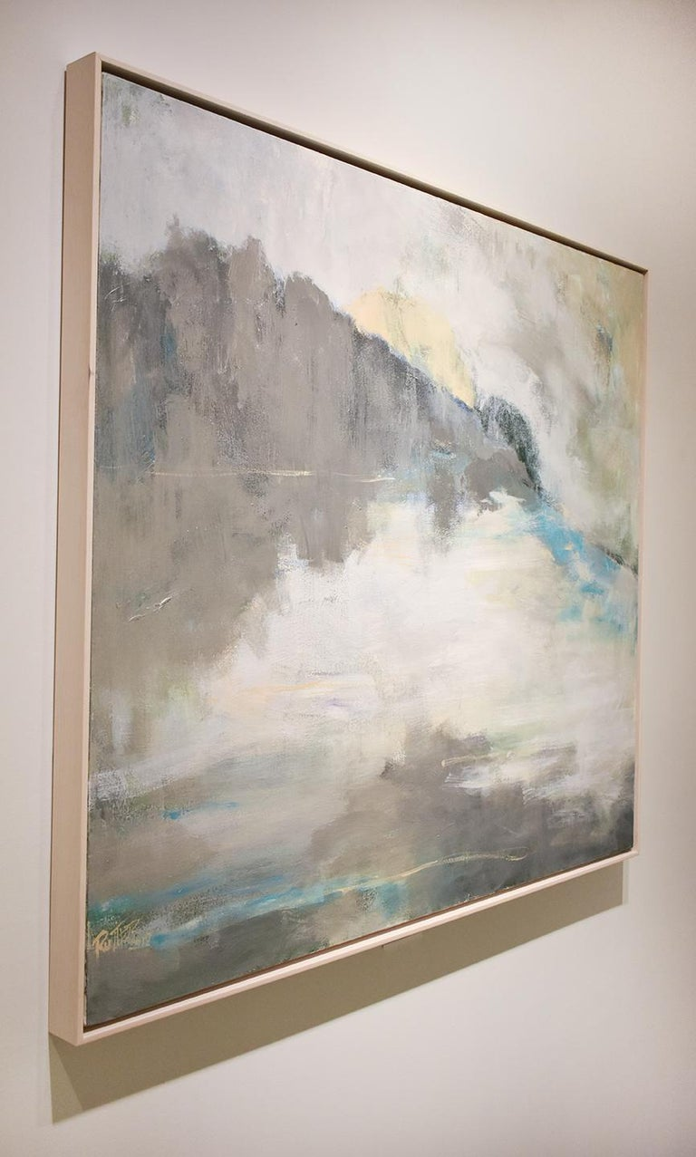 'Over the Moon' (abstracted landscape painting on canvas by Nancy Rutter, framed) 40 x 46 inches 42 x 48 x 2 inches framed, custom white stained wood floater frame  Inspired by the seasonality of color and light, Nancy Rutter's most recent paintings