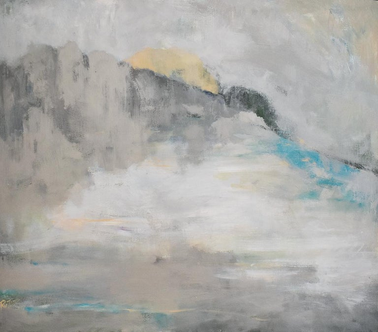 Nancy Rutter Abstract Painting - Over the Moon (Contemporary Abstracted Landscape Painting, Reflecting Moonlight)