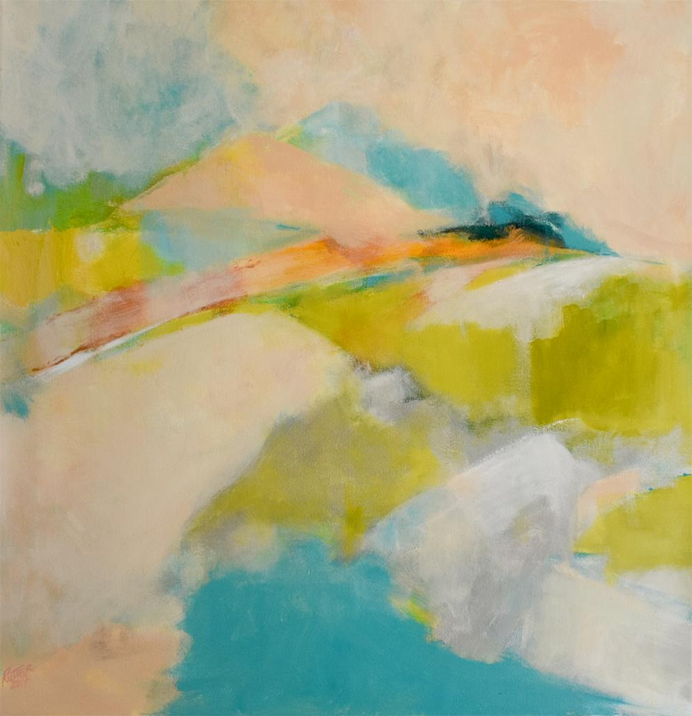 Overlook Hill (Large Colorful Abstract Landscape in Chartreus and Pastel Colors)