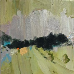 Rail View (Ethereal Abstracted Landscape in Light Green and Dark Teal on Canvas)