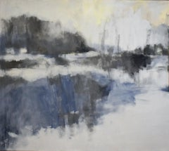 Silver Marsh (Contemporary Abstracted Landscape Painting in Blue and Silver)