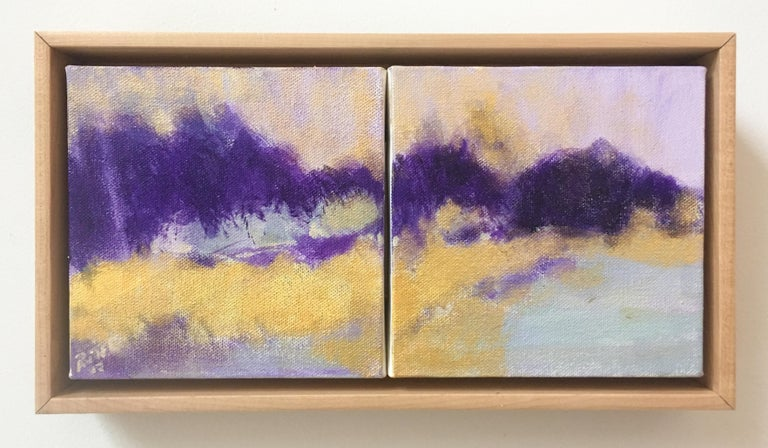 Violet Hills (Abstract Landscape Painting in Yellow & Purple with Wood Frame) - Beige Abstract Painting by Nancy Rutter