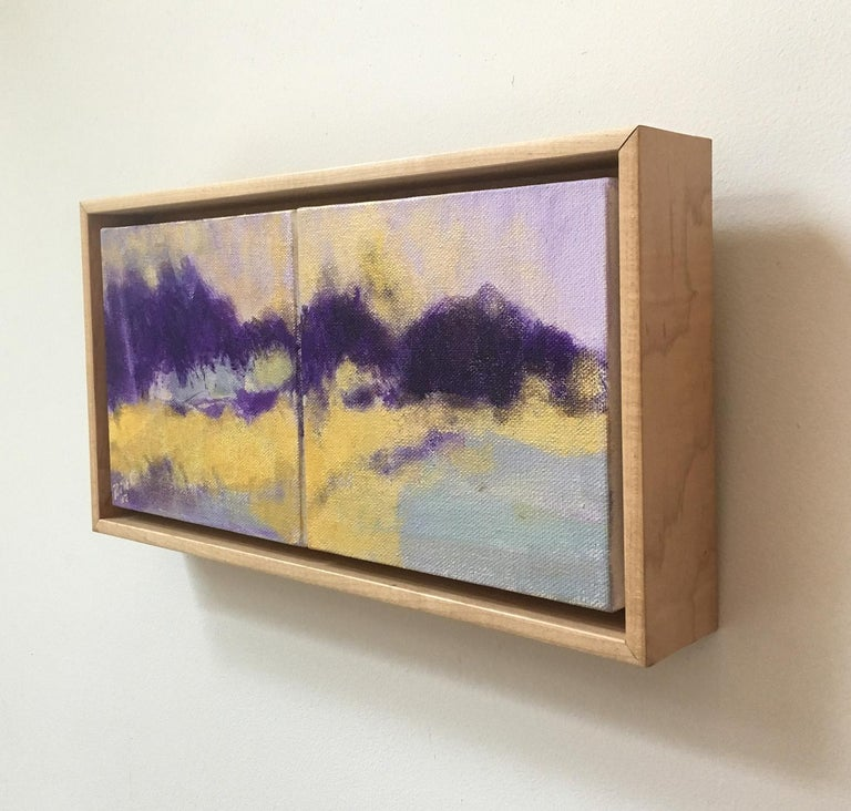 'Violet Hills' (abstracted landscape painting on canvas by Nancy Rutter, framed) Charming composition of gestural brushstrokes of yellow and shades of purple in soft lilac and violet acrylic on canvas, diptych  7.25 x 13.25 inches in Larson Juhl