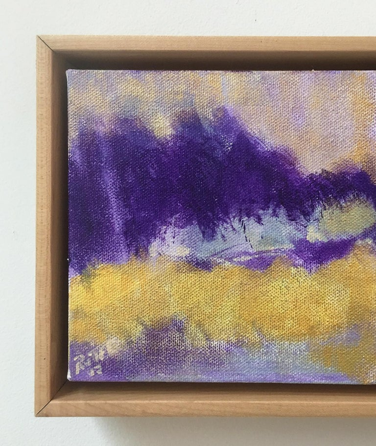 Violet Hills (Abstract Landscape Painting in Yellow & Purple with Wood Frame) For Sale 1