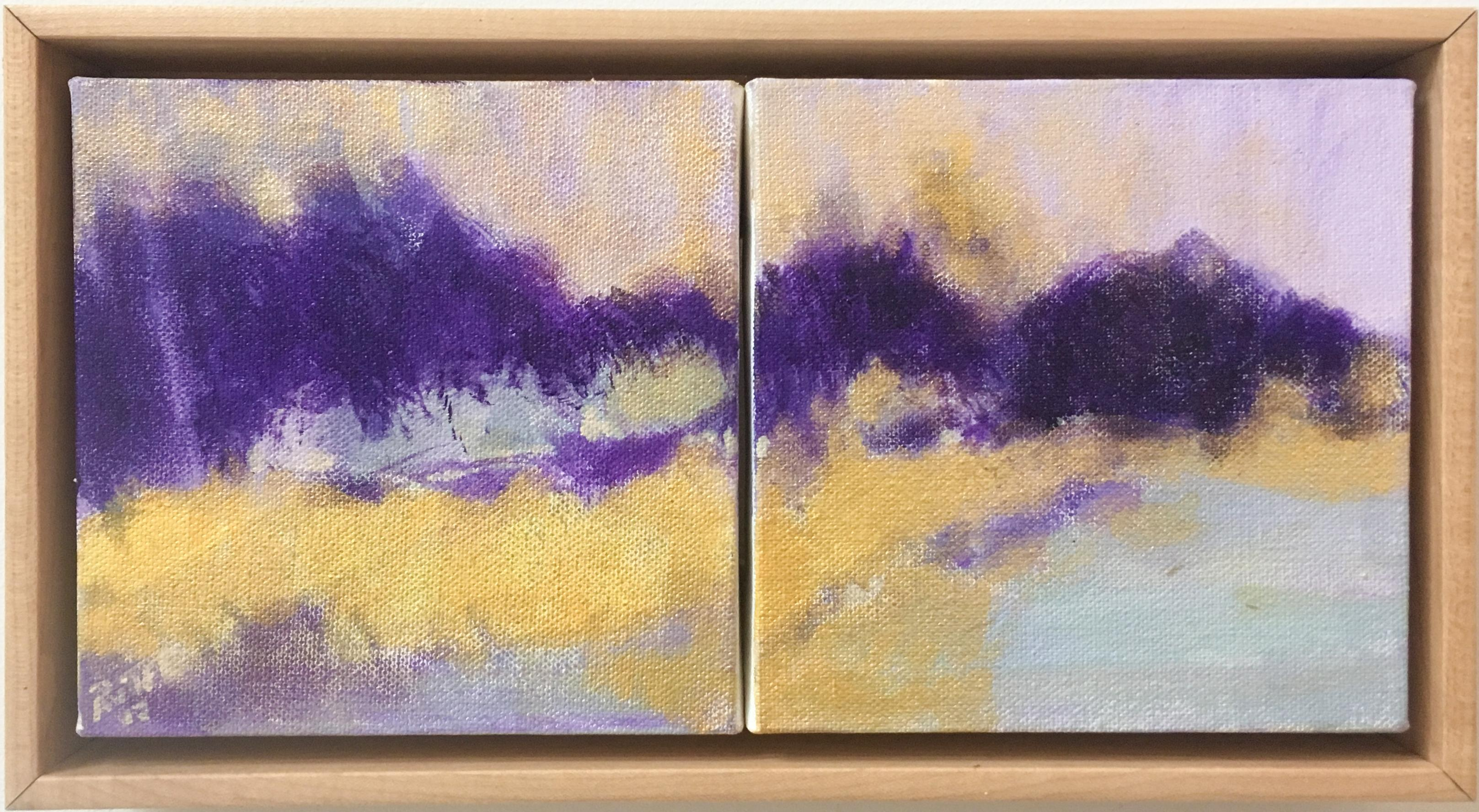 Violet Hills (Abstract Landscape Painting in Yellow & Purple with Wood Frame)