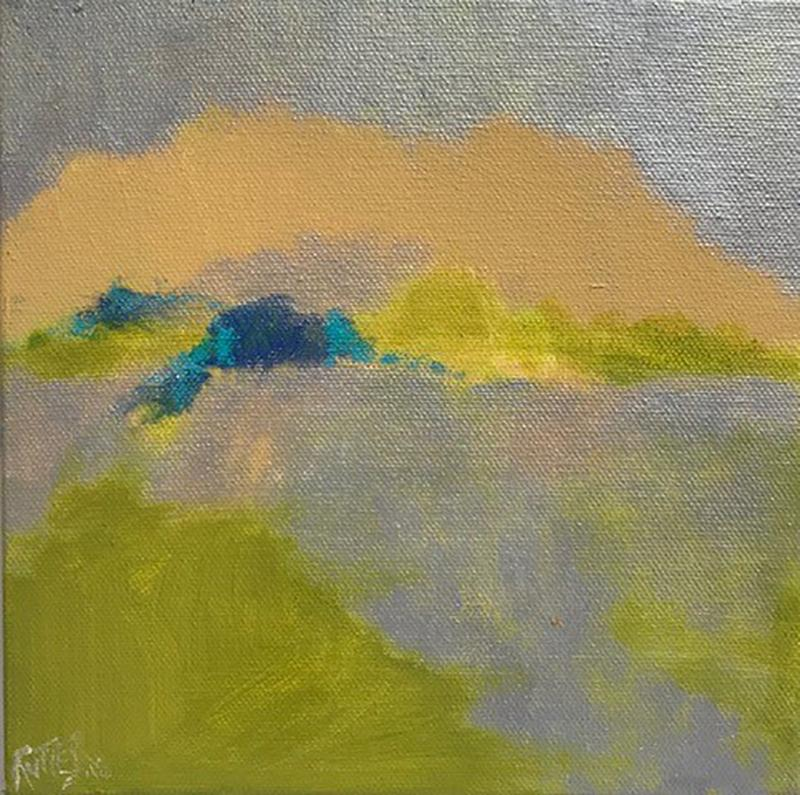 Walkers (Ethereal Abstracted Landscape in Chartreuse, Peach, Yellow, and Teal)