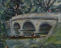 Nancy Huntly Trinity College Bridge Cambridge oil on canvas mid century