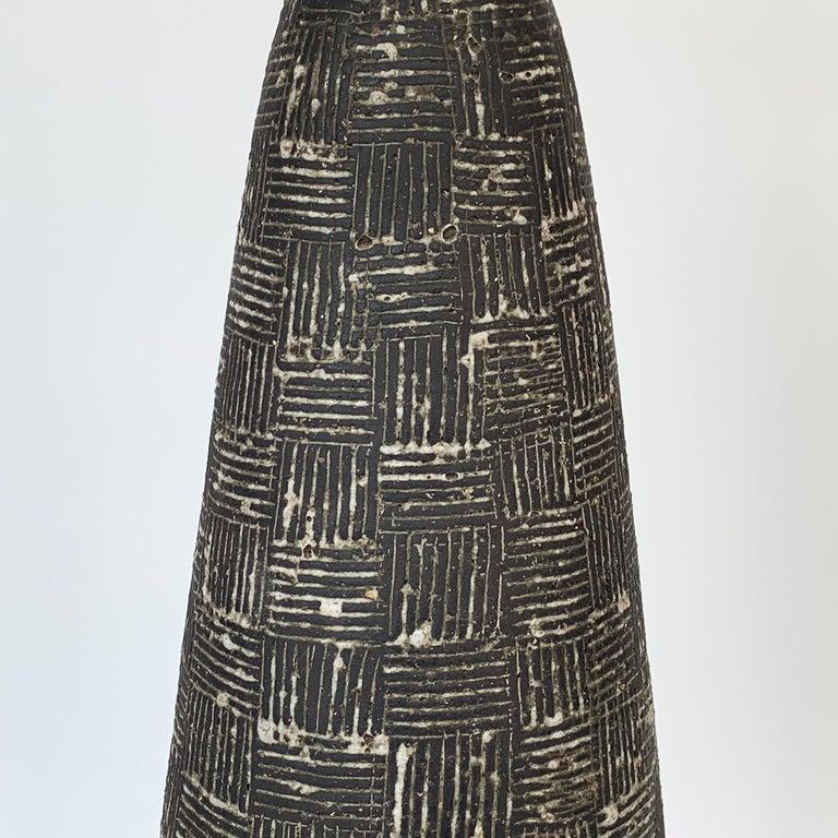 Glazed Nancy Wickham Textured Ceramic Table Lamp For Sale