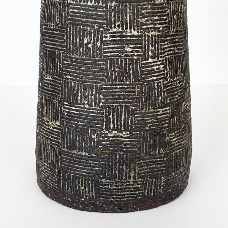 Mid-20th Century Nancy Wickham Textured Ceramic Table Lamp For Sale