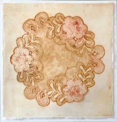 Doily Diaries 1 - floral and fiber influenced sienna collagraph print