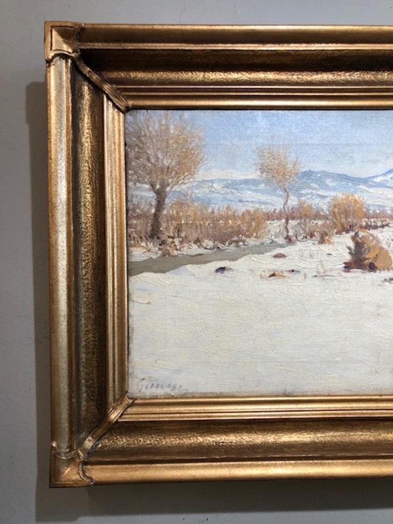 Winter Landscape - Impressionist Painting by Nandor Guncser