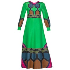 Nane French Couture Hand Painted Green Silk Maxi Dress, 1970s