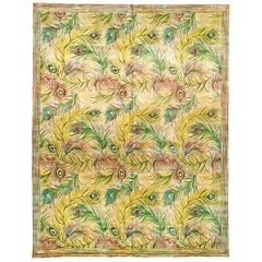 Nanette Lapore Peacock Yellow, Pink, Green, Beige and Blue Handwoven Silk Rug