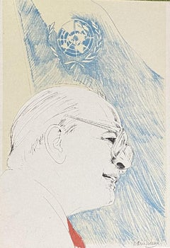 Craxi at the UN - Original Lithograph on Paper by Nani Tedeschi - 20th Century