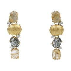 Nanis Diamond & Quartz Ipanema Earrings in 18k Yellow Gold, OS52-515