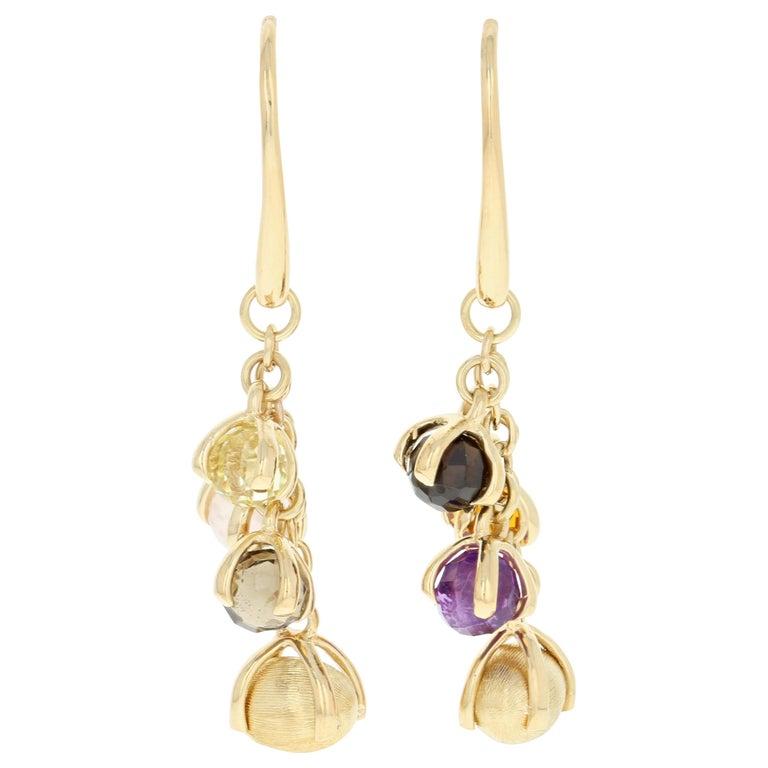 Nanis Multi-Gemstone Dangle Earrings, 18 Karat Gold Smoky Quartz Citrine Pierced