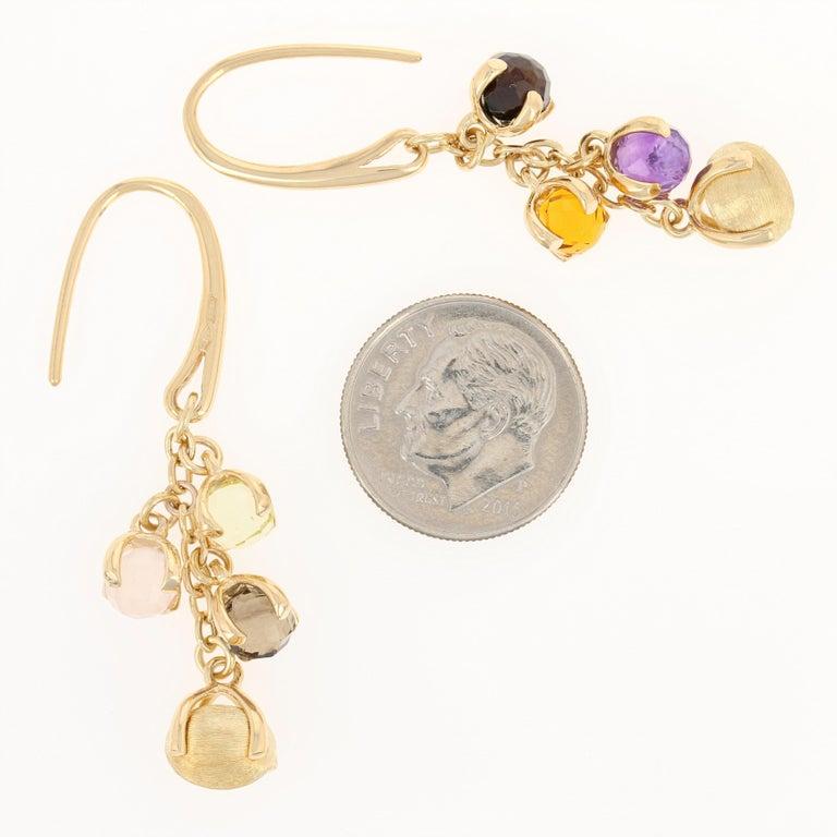Women's Nanis Multi-Gemstone Dangle Earrings, 18 Karat Gold Smoky Quartz Citrine Pierced
