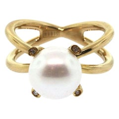 Nanis Pearl and Diamond Ring in 18K
