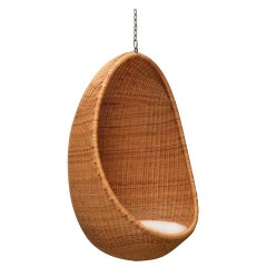 Nanna Ditzel, 1950s Egg-Shaped Hanging Cane Chair by Bonacina Pierantonio, 1959