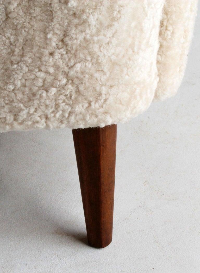 Nanna Ditzel 'Attribution' Pair of Sofas/Loveseats, Sheepskin, Beech For Sale 3