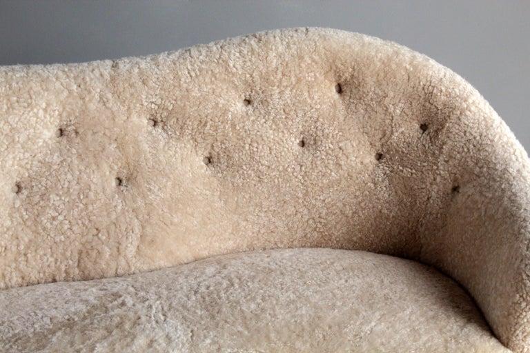 Nanna Ditzel 'Attribution' Pair of Sofas/Loveseats, Sheepskin, Beech For Sale 4