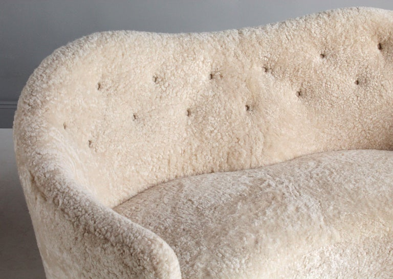 Nanna Ditzel 'Attribution' Pair of Sofas/Loveseats, Sheepskin, Beech For Sale 5