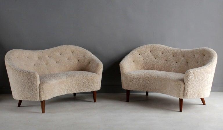 Scandinavian Modern Nanna Ditzel 'Attribution' Pair of Sofas/Loveseats, Sheepskin, Beech For Sale