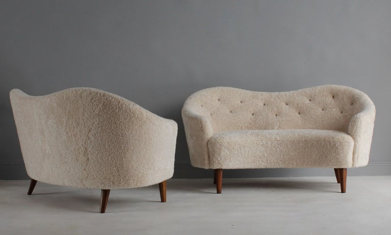 Danish Nanna Ditzel 'Attribution' Pair of Sofas/Loveseats, Sheepskin, Beech For Sale