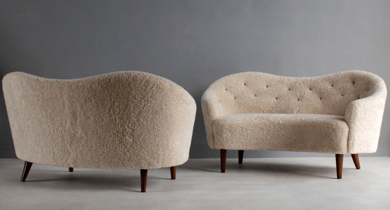 Nanna Ditzel 'Attribution' Pair of Sofas/Loveseats, Sheepskin, Beech In Excellent Condition For Sale In West Palm Beach, FL