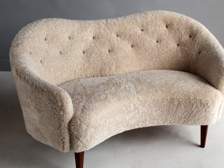 Mid-20th Century Nanna Ditzel 'Attribution' Pair of Sofas/Loveseats, Sheepskin, Beech For Sale