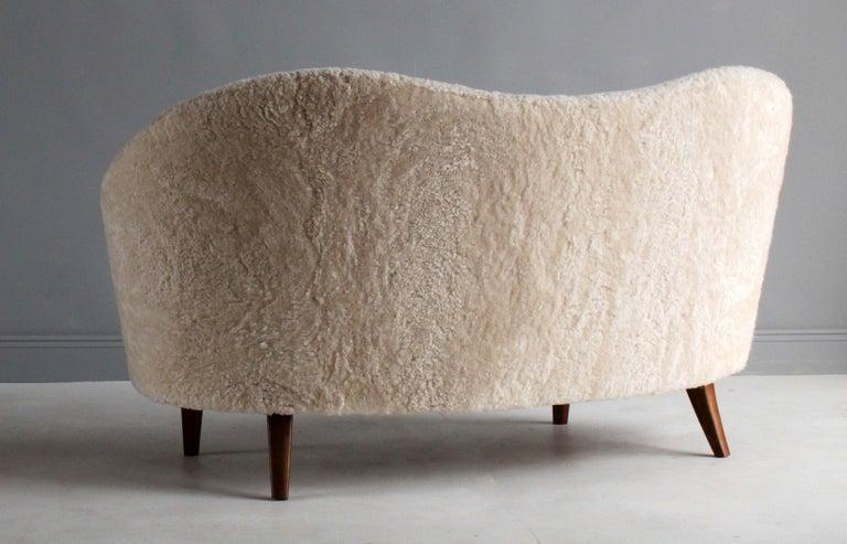 Nanna Ditzel 'Attribution' Pair of Sofas/Loveseats, Sheepskin, Beech For Sale 1
