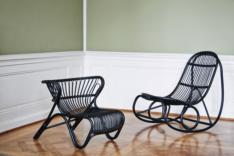 Nanna Ditzel briefly studied under the leading Danish furniture designer Kaare Klint at the Royal Danish Academy of Fine Arts furniture school, and that experience informed the Nanny Rocking Chair. Designed in 1969, this innovative piece is among