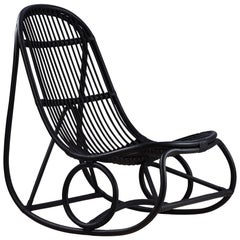 Nanna Ditzel Black Rattan Nanny Indoor Rocking Chair by Sika Design