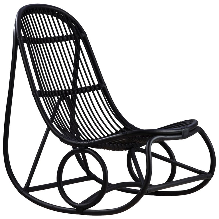 Nanna Ditzel Black Rattan Nanny Indoor Rocking Chair by Sika Design For Sale