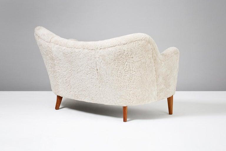 Nanna Ditzel Model 185 Sheepskin Sofa for Slagelse Mobelvaerk, 1950s 3