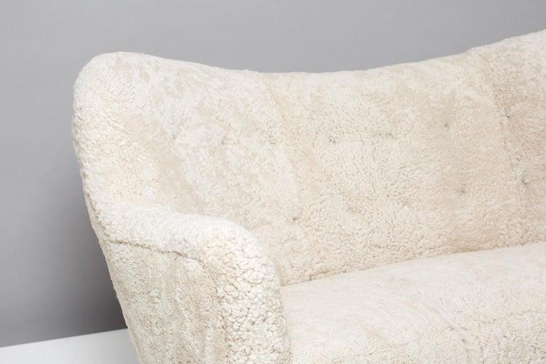 Scandinavian Modern Nanna Ditzel Model 185 Sheepskin Sofa for Slagelse Mobelvaerk, 1950s