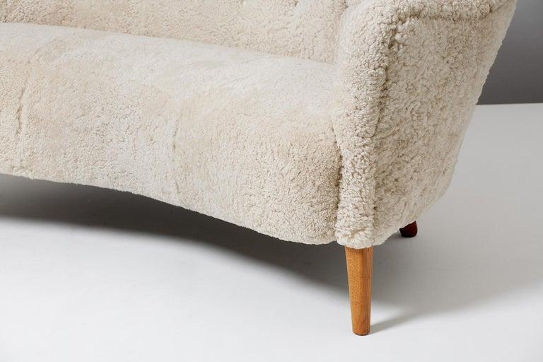 Mid-20th Century Nanna Ditzel Model 185 Sheepskin Sofa for Slagelse Mobelvaerk, 1950s