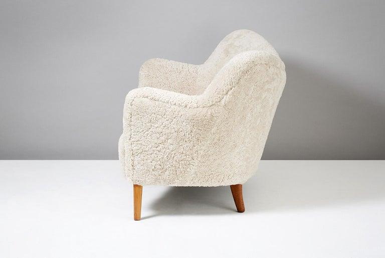 Nanna Ditzel Model 185 Sheepskin Sofa for Slagelse Mobelvaerk, 1950s 1