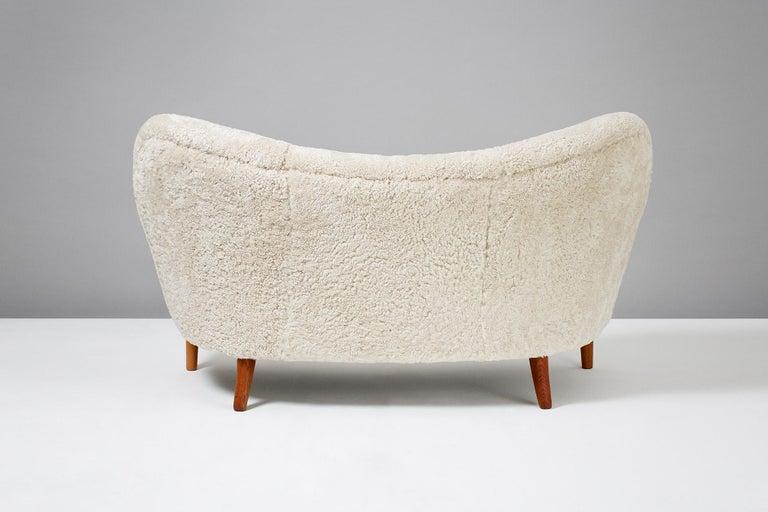 Nanna Ditzel Model 185 Sheepskin Sofa for Slagelse Mobelvaerk, 1950s 2
