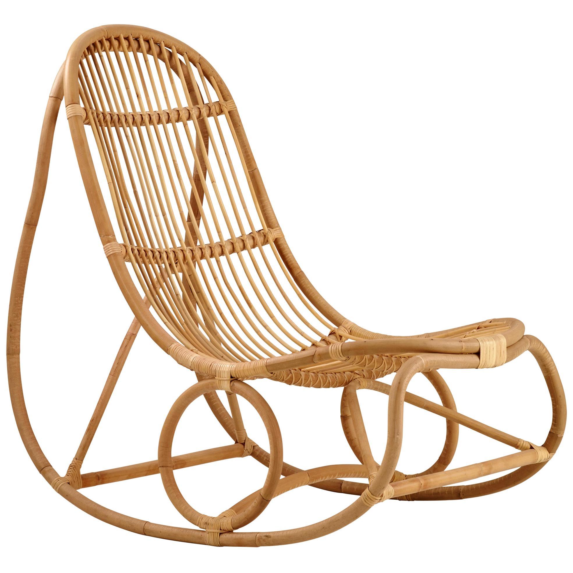 Nanna Ditzel Natural Rattan Nanny Indoor Rocking Chair by Sika Design