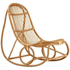 Nanna Ditzel Natural Rattan Nanny Indoor Rocking Chair by Sika Design