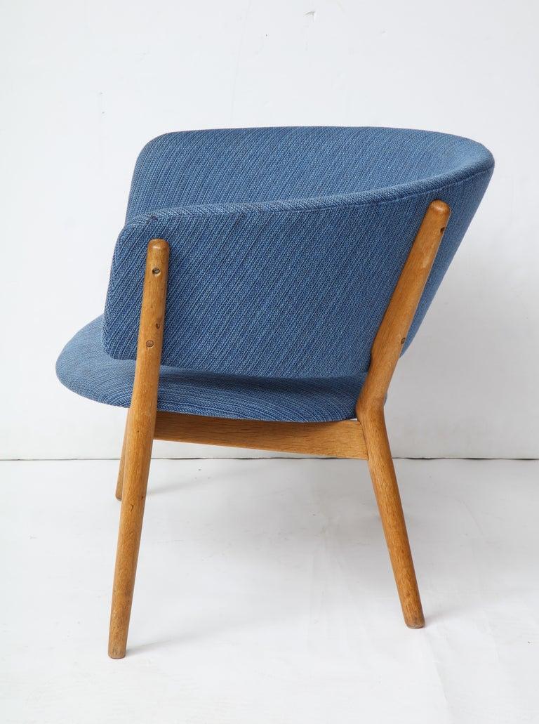 Scandinavian Modern Nanna Ditzel ND83 Lounge Chair Upholstered in Blue Fabric, Denmark, 1950s For Sale