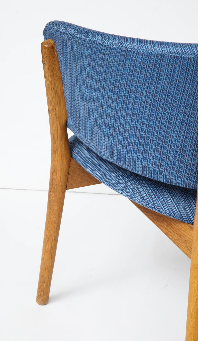 Nanna Ditzel ND83 Lounge Chair Upholstered in Blue Fabric, Denmark, 1950s In Good Condition For Sale In New York, NY