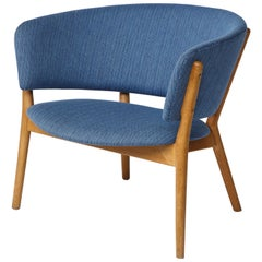 Nanna Ditzel ND83 Lounge Chair Upholstered in Blue Fabric, Denmark, 1950s