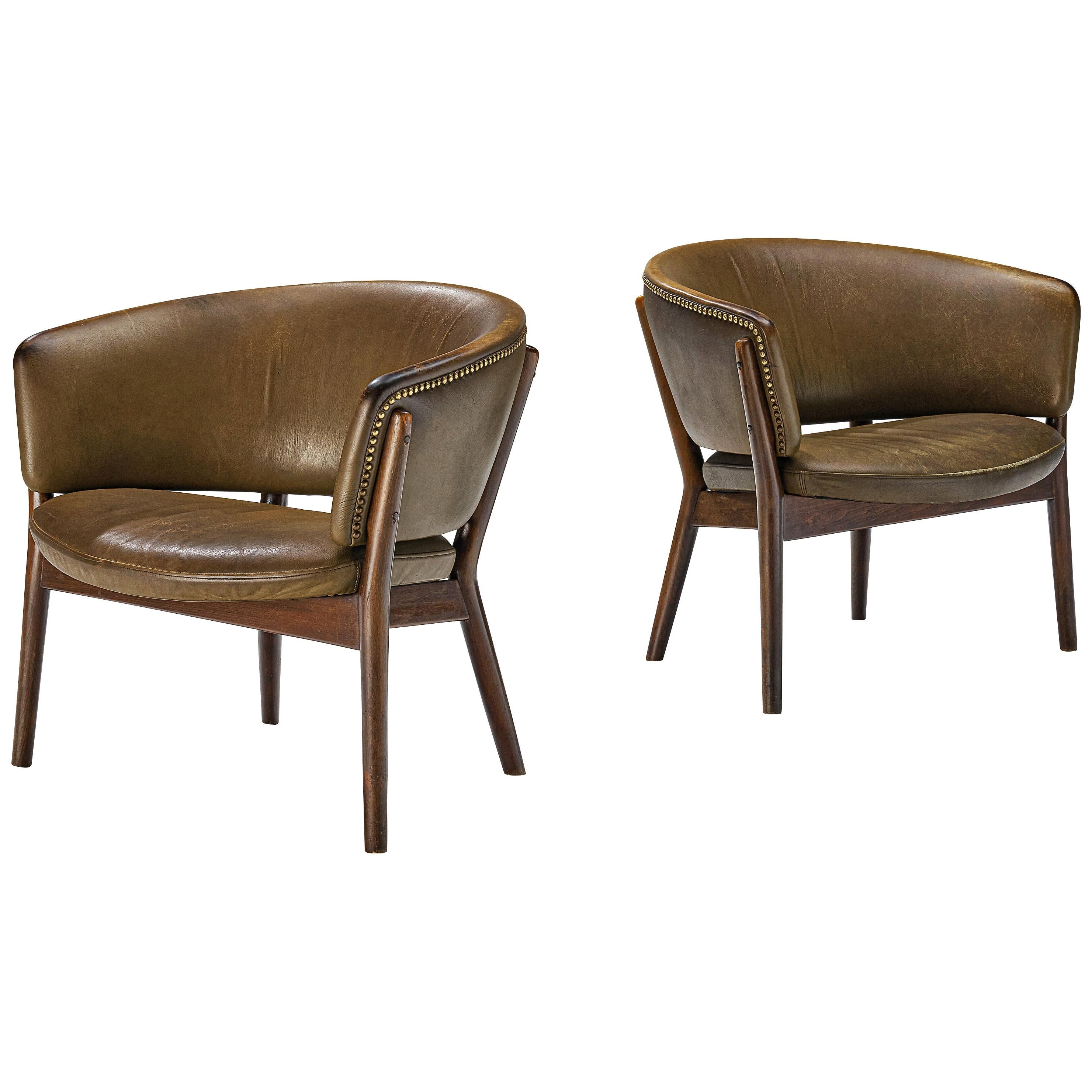 Nanna Ditzel Pair of Two Lounge Chairs Model 'ND83' in Original Green Leather