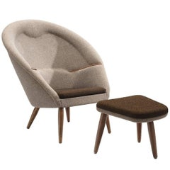 Nanna Ditzel Recently Upholstered 'Oda-Chair' with Ottoman