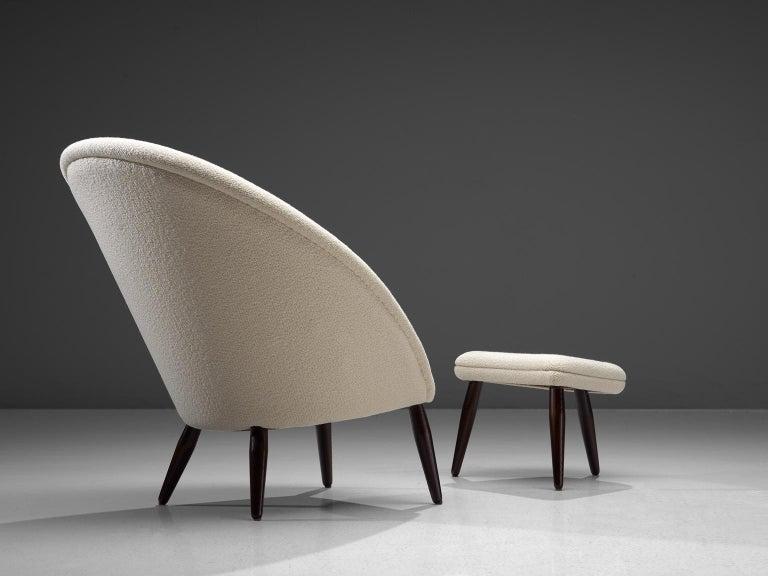 Scandinavian Modern Nanna Ditzel Reupholstered 'Oda-Chair' with Ottoman  For Sale
