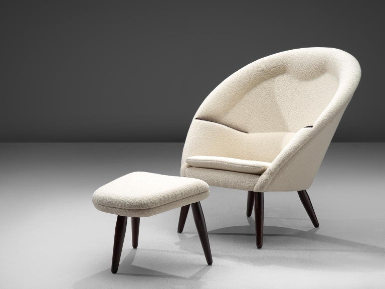 Danish Nanna Ditzel Reupholstered 'Oda-Chair' with Ottoman  For Sale